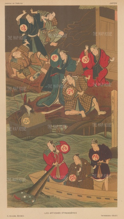 Japanese Theatre: Ukiyo-e advertisement for Kubuki Theatre. Treasures in the waters.