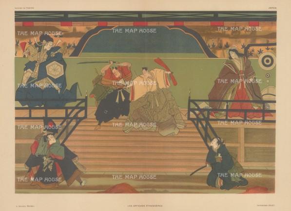 Japanese Theatre: Ukiyo-e advertisement for Kubuki Theatre.Samurai and Priests.