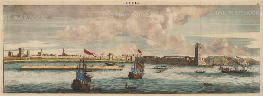 "Le Bruyn: Rhodes. 1702. A hand coloured original antique copper engraving. 24"" x 9"". [GRCp427]"