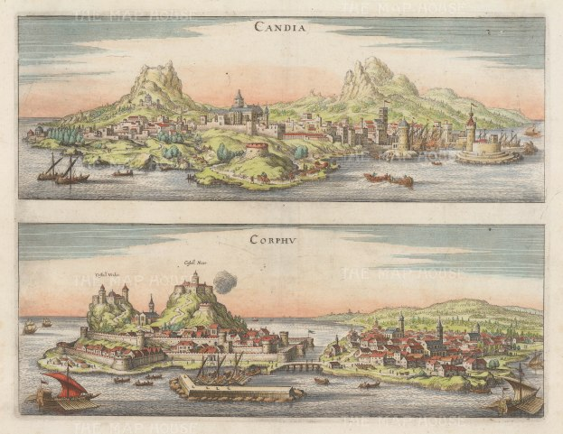 "Merian: Crete & Corfu. c1700. A hand coloured original antique copper engraving. 15"" x 11"". [GRCp705]"