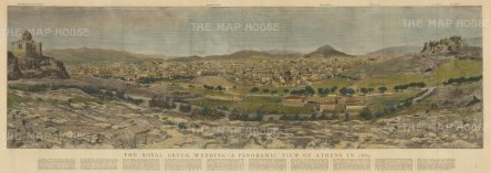 Panorama with critique of the city below: Athens was the centre of world attention for the wedding of Crown Prince Konstantinos to Sophia of Prussia, sister to Kaiser Wilhelm II.