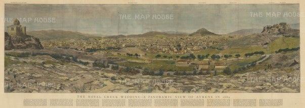 "Graphic Magazine: Athens. 1889. A hand coloured original antique wood engraving. 40"" x 13"". [GRCp814]"
