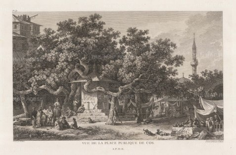 "Gouffier: Kos. 1782. An original antique copper engraving. 16"" x 10"". [GRCp847]"
