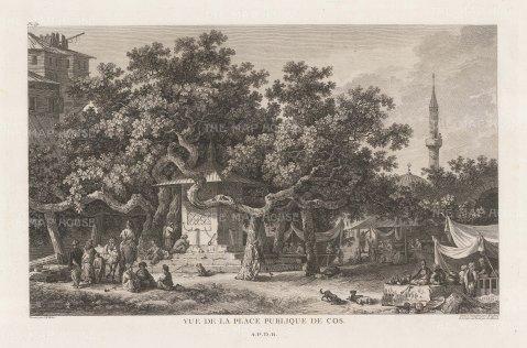 "Gouffier: Kos. 1782. An original antique copper engraving. 16"" x 10"". [GRCp847]"