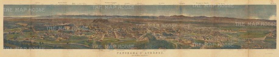 "Bertrand: Athens. c1820. A hand coloured original antique steel engraving. 27"" x 6"". [GRCp858]"