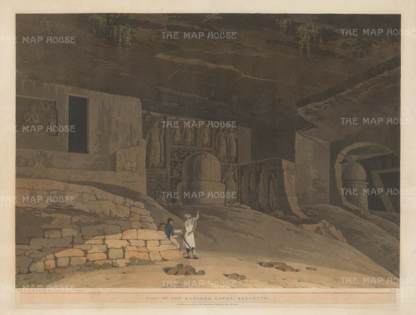 Kanheri Caves at Salsette: Part of the caves carved out by Buddhist monks. With the artist sketching in the foreground.