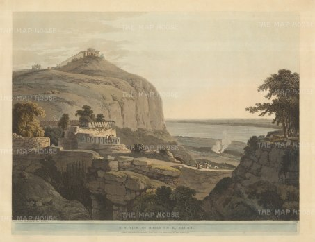 Rohtasgarh Fort, Bihar: North west view over the fort and the Kaimur Hills with the Harsichandra temple in the distance.