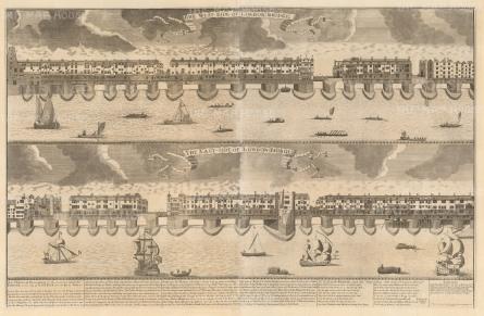 "Smith: London Bridge. 1720. An original antique copper engraving. 35"" x 22"". [LDNp1917]"