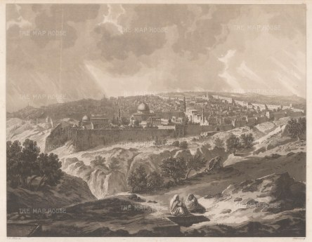 RARE: Panorama from the valley of Josaphat. de Forbin, curator of the Louvre, arrived in the Levant with an expedition of artists to purchase antiquities.