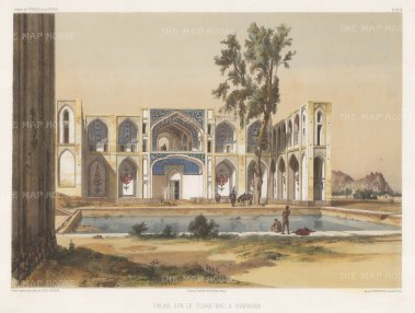 Isfahan, Iran. View of Hasht Behesht palace on the Chahar bagh avenue. After Jules Laurens.