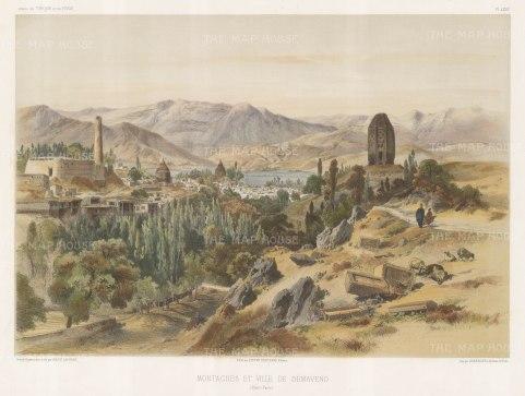Damavand, Iran with Mount Damavand. After Jules Laurens.
