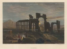 Palmyra: Ruins of the camp of Diocletian and Temple of Bel at night.