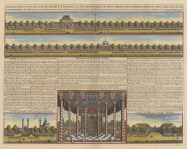 Isfahan, Iran: Double panorama of the Royal Palace at Isfahan and views of the Royal Mosque, Pavilion and Bazaar with text in French.