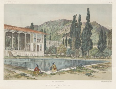 Ashref, Iran: View of the ruins of the palace and gardens. After Jules Laurens.