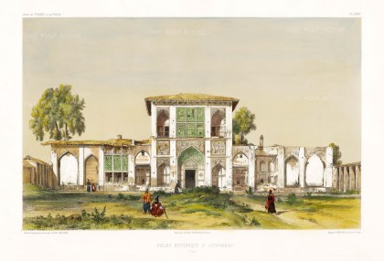 Asterabad (Gorgan), Iran: Front facade of the Royal Palace. After Jules Laurens.