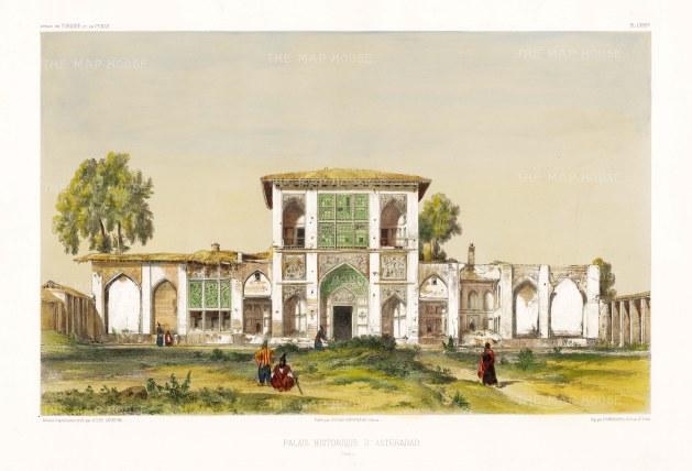 Asterabad (Gorgan), Iran: Front facade of the Royal Palace. After Jules Laurens.