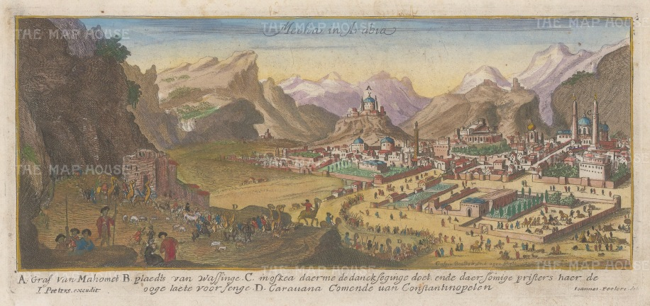 Mecca, Saudi Arabia: Showing a Hajj camel caravan from Constantinople with key in Dutch.