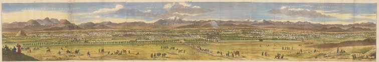 Isfahan, Iran: Panorama prior to the city being sacked by the Ghili Pashtun army in 1722.