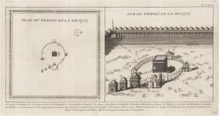 Mecca, Saudi Arabia: Al-Masjid Al-Haram. Plan and bird's eye view of the Kaaba. With detailed key in French.