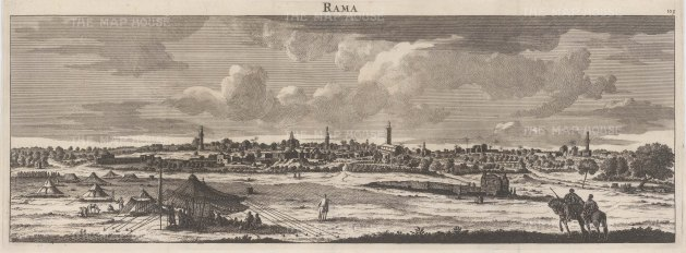 "Le Bruyn: Ramallah. 1703. An original antique copper engraving. 24"" x 9"". [MEASTp627]"
