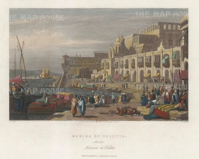 "Jackson: Valetta, Malta. c1840. A hand coloured original antique steel engraving. 8"" x 6"". [MEDp285]"