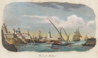 "Gold: Valetta, Malta. 1817. A hand coloured original antique aquatint. 9"" x 5"". [MEDp306]"