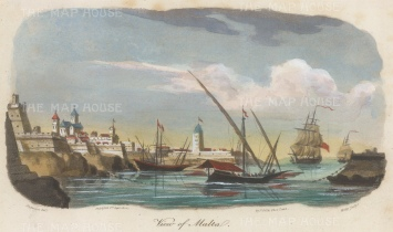 "Gold: Valetta, Malta. 1817. A hand coloured original antique aquatint. 9"" x 5"". [MEDp306]"