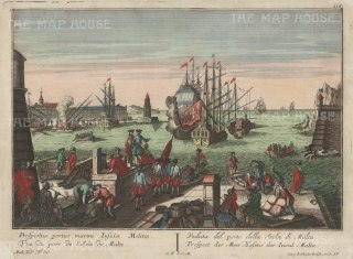 RARE: Valetta, Malta: Contemporary view of the port, seat of the Order of St John or Knights Hospitaler until their expulsion by Napolean. Title in Latin, French, Italian and German.