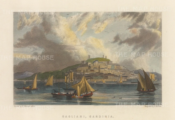 "Fullarton: Cagliari, Sardinia. c1840. A hand coloured original antique steel engraving. 6"" x 5"". [MEDp313]"