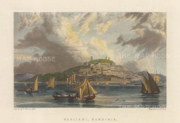 """Fullarton: Cagliari, Sardinia. c1840. A hand coloured original antique steel engraving. 6"""" x 5"""". [MEDp313]"""