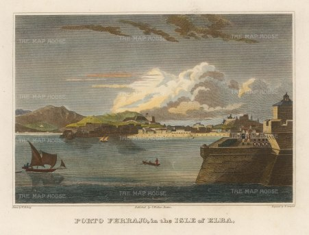 "Craig: Porto Ferrajo, Elba. 1805. A hand coloured original antique copper engraving. 9"" x 7"". [MEDp318]"