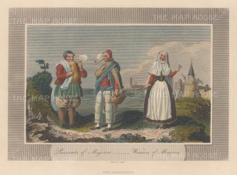 "Pelham: Menorca & Majorca. 1810. A hand coloured original antique steel engraving. 6"" x 4"". [MEDp320]"