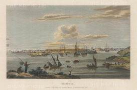 "Kelly: Mahon, Menorca. c1845. A hand coloured original antique steel engraving. 7"" x 5"". [MEDp322]"