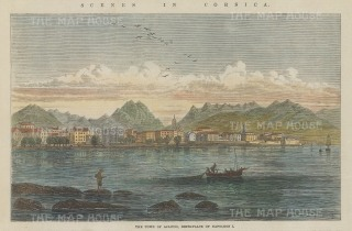 "Illustrated London News: Ajaccio, Corsica. 1864. A hand coloured original antique wood engraving. 7"" x 4"". [MEDp323]"