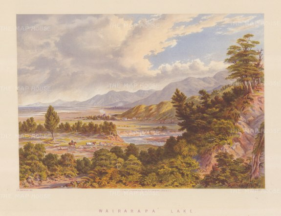 "Barraud: Wairarapa Lake. 1877. An original antique chromolithograph. 17"" x 12"". [NWZp259]"