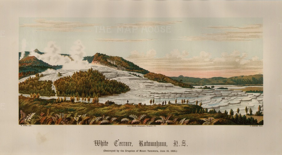 White Terrace (Te Otukapuarangi) at Lake Rotowahana: The colossal deposits of silica were destroyed by the eruption of Mount Tarawera in 1886.
