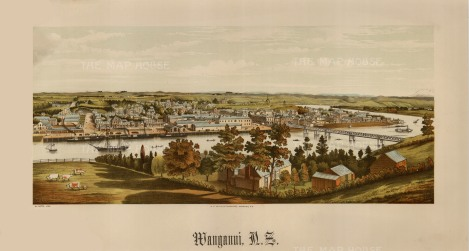 Wanganui: Panoramic view over the Wanganui river towards the town. Edward Wakefield's New Zealand Land Company established numerous settlements that became principal towns.