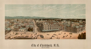 Christchurch: Panoramic view from the Cathedral. Edward Wakefield's New Zealand Land Company established numerous settlements that became principal towns.