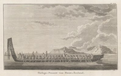 Maori war canoe with Gable End foreland in the distance. After Sydney Parkinson, artist of the First Voyage. Dutch edition.