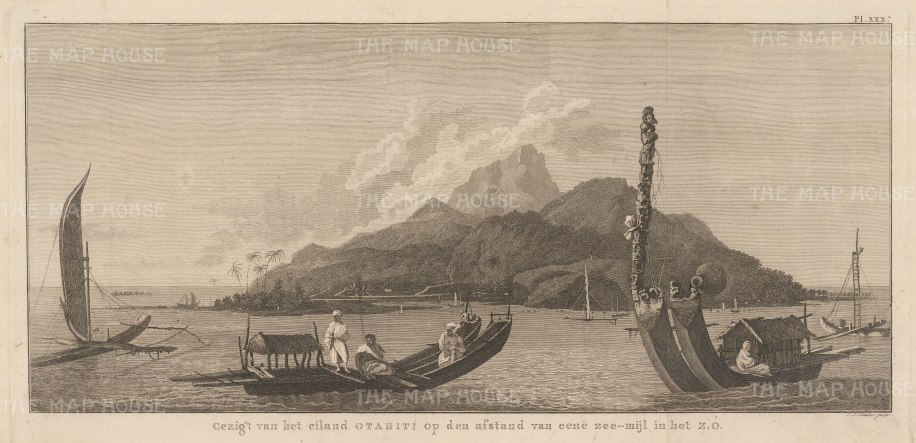 Coastal view bearing S.E by one league with Tahitian boats. After William Hodges, artist on the Second Voyage. Dutch edition.