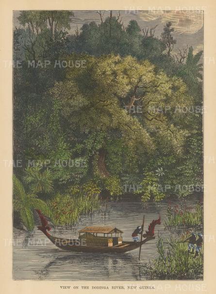 """Brown: Dodinga Rriver, New Guinea. 1885. A hand coloured original antique wood engraving. 7"""" x 9"""". [PLYp176]"""