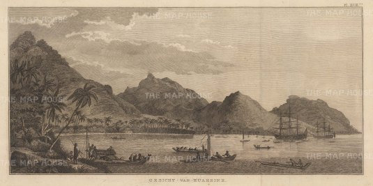 Huaheine (Huahine Nui): View of the harbour with the Discovery and Resolution at anchor.After John Webber, artist on the Third Voyage. Dutch edition.