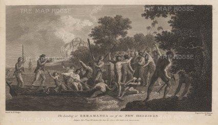 New Hebrides (Vanuatu): Erramanca (Eromango). The landing and violent retreat of Captain Cook. After William Hodge, artist on the Second Voyage.