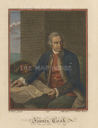 "Dance: James Cook. 1792. A hand coloured original antique copper engraving. 5"" x 7"". [PLYp232]"