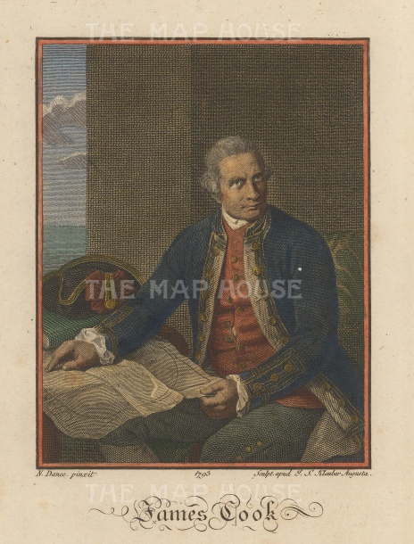 "Dance: James Cook. 1792. A hand coloured original antique copper engraving. 5"" x 7"". [PLYp232]"