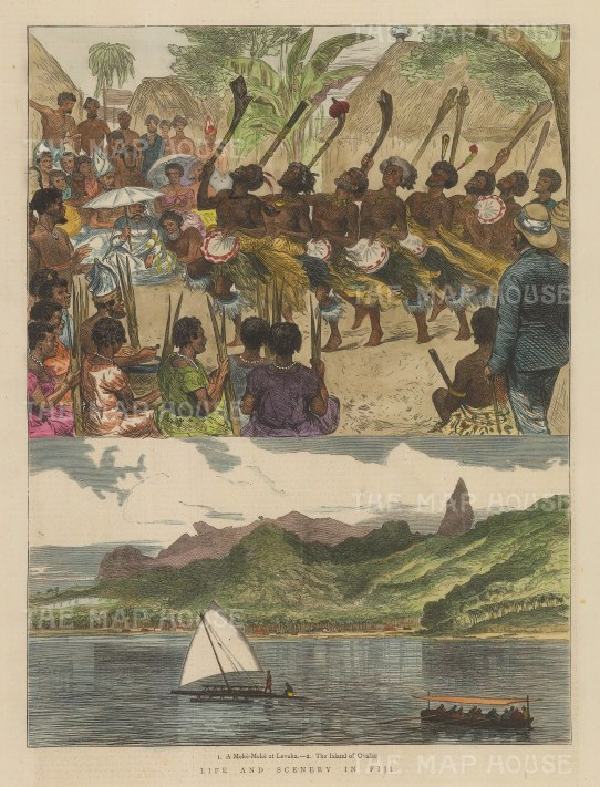 """Illustrated London News: Fiji. 1875. A hand coloured original antique wood engraving. 9"""" x 12"""". [PLYp234]"""