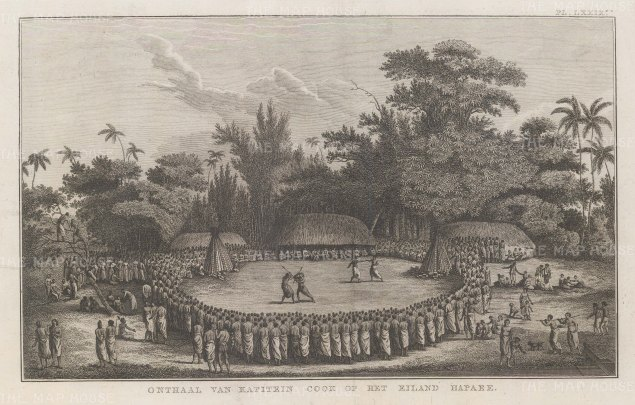 Hapaee Island: Captain Cook seated at centre watching the display in his honour. After John Webber artist on the Third Voyage. Dutch edition.