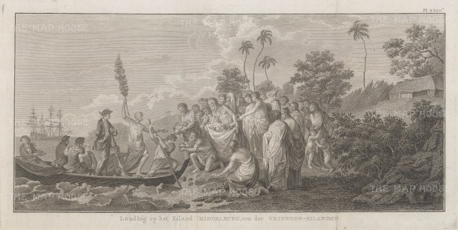 Middleburg Island (Eua): Landing of Captain Cook. After William Hodge, artist on the Second Voyage. Dutch edition.