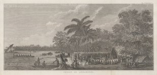 Annamooka Bay (Nomuka): View of Captain Cook's house and the market established there.After John Webber, artist on the Second Voyage.Dutch Edition