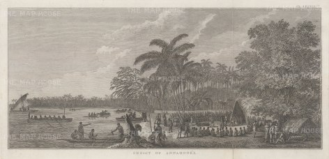 Annamooka Bay (Nomuka): View of Captain Cook's house and the market established there. After John Webber, artist on the Second Voyage. Dutch Edition